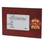"U.S. Flag Store Fire Fighter 4"" x 6"" Mahogany Wood Medallion Frame (83-385054)"