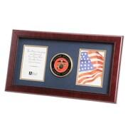 "U.S. Flag Store Marine Corps 8"" x 16"" Mahogany Wood Dual Frame (83-380028)"