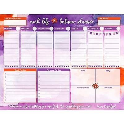 Bloom Daily Planners Watercolor Work Life Balance To Do Pad, 8.5