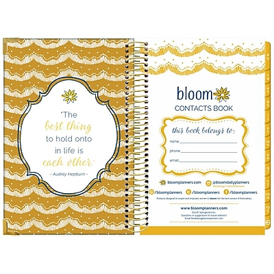 Bloom Daily Planners Vintage Floral Contacts Book, 8.25