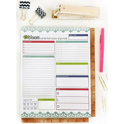 Bloom Daily Planners Teal Planning System Pad, 8.5