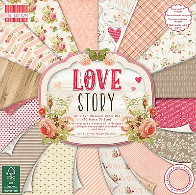 Trimcraft Love Story, 16 Designs, 3 Each First Edition Premium Paper Pad, 12