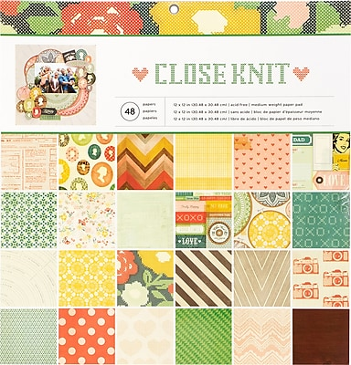 American Crafts Close Knit Single-Sided Paper Pad, 12