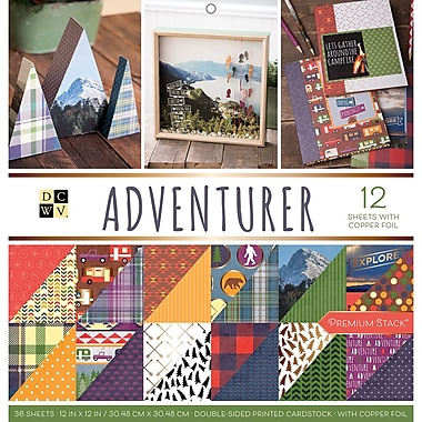 American Crafts Adventurer, 12 W/Copper Foil DCWV Double-Sided Paper Stack, 12