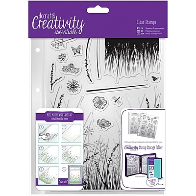 Docrafts Meadow Creativity Essentials A5 Clear Stamp Set, 15/Pkg (CE907113)