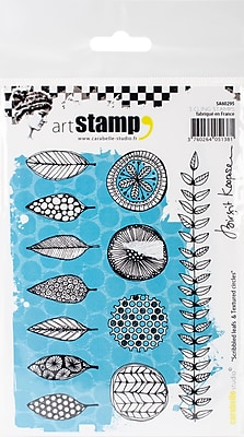 Carabelle Studio Scribbled Leaves & Textured Circles Cling Stamp A6 By Birgit Koopsen (SA60295)