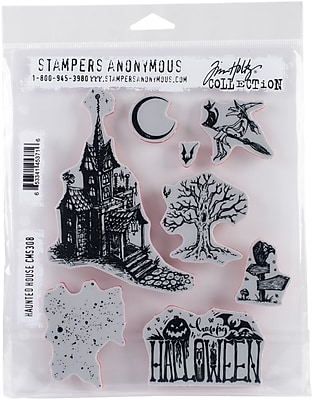 Stampers Anonymous Haunted House Tim Holtz Cling Stamps 7