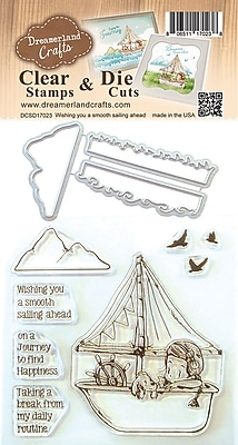 Dreamerland Crafts Wishing You A Smooth Sailing Ahead Clear Stamp & Die Set, 4