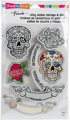 Stampendous Sugar Skull Cling Stamp & Die Set 9