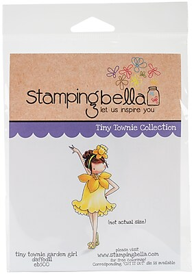 Stamping Bella Garden Girl Daffodil Tiny Townie Cling Stamp, 6.5