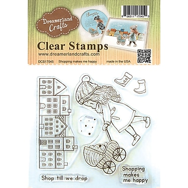 Dreamerland Crafts Shopping Makes Me Happy Clear Stamp Set, 4