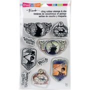 """Stampendous Halloween Labels Cling Stamp & Die Set 9""""X5.25"""" (CLD04)"""