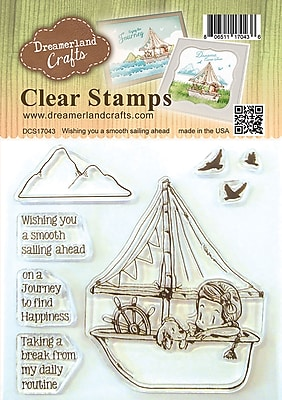 Dreamerland Crafts Wishing You A Smooth Sailing Ahead Clear Stamp Set, 4