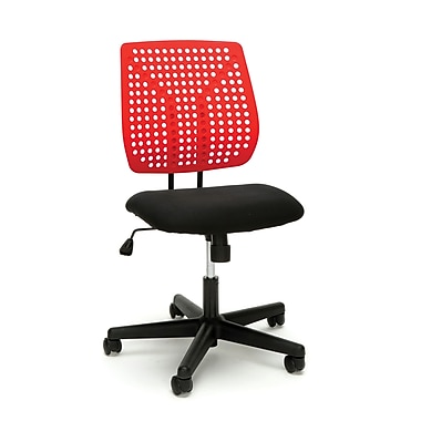 Essentials by OFM Model Plastic Back Task Chair, Black Red (ESS-2050-BLK-RED)