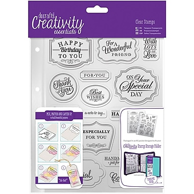 Docrafts Trad Sentiment Creativity Essentials A5 Clear Stamp Set, 18/Pkg (CE907118)