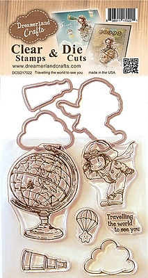 Dreamerland Crafts Traveling The World To See You Clear Stamp & Die Set, 4