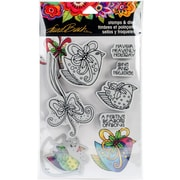 """Stampendous Heavenly Holiday Laurel Burch Cling Stamp & Die Set 9""""X5.25"""" (LBCLD01)"""