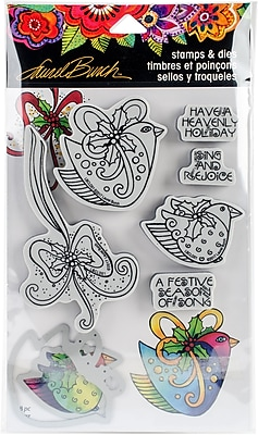 Stampendous Heavenly Holiday Laurel Burch Cling Stamp & Die Set 9