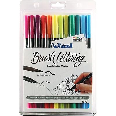 Uchida Le Plume II Double-Ended Brush Lettering Marker Set, 12/Pkg, Bright (1122BL12-12J)