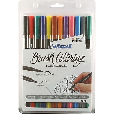 Uchida Le Plume II Double-Ended Brush Lettering Marker Set ,12/Pkg, Primary (1122BL12-12I)