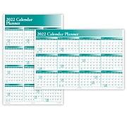 "2022 ComplyRight 24"" x 36"" Dry Erase Calendar, Full Calendar Planner, Green (J0056GR)"