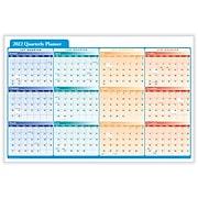 "2022 ComplyRight 24"" x 36"" Dry Erase Calendar, Quarterly Planner, Red/Blue/Orange (J0061)"