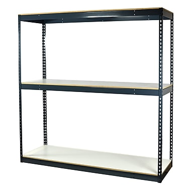 Storage Concepts Office Shelving, Heavy Duty Boltless, 3 Shelves with White Laminated Board, 84