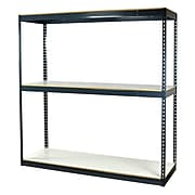"""Storage Concepts Office Shelving, Heavy Duty Boltless, 3 Shelves with White Laminated Board, 84""""H x 48""""W x 24""""D"""