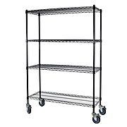 """Storage Concepts Office Shelving with Wheels, Wire Black, 4 Shelves, 69""""H x 60""""W x 24""""D"""
