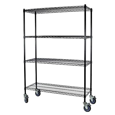 Storage Concepts Office Shelving with Wheels, Wire Black, 4 Shelves, 69