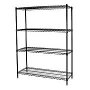"Storage Concepts Office Shelving, Wire Black, 4 Shelves, 74""H x 36""W x 18""D"