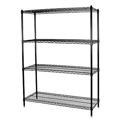 Storage Concepts Office Shelving, Wire Black, 4 Shelves, 74