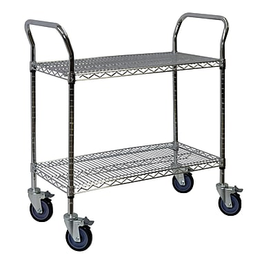 Storage Concepts Office Wire Cart, Chrome, 2 Shelves, 39