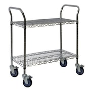 "Storage Concepts Office Wire Cart, Chrome, 2 Shelves, 39""H x 36""W x 18""D"