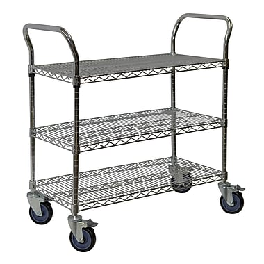 Storage Concepts Chrome Wire Service Cart, 3 Shelves, 39