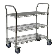 "Storage Concepts Office Wire Cart, Chrome, 3 Shelves, 39""H x 36""W x 18""D"