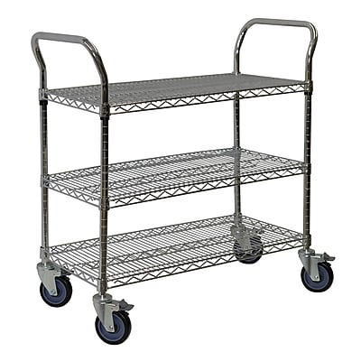 Storage Concepts Office Wire Cart, Chrome, 3 Shelves, 39