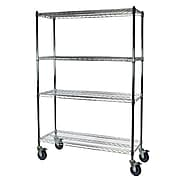 """Storage Concepts Office Shelving with Wheels, Wire Chrome, 4 Shelves, 69""""H x 36""""W x 18""""D"""
