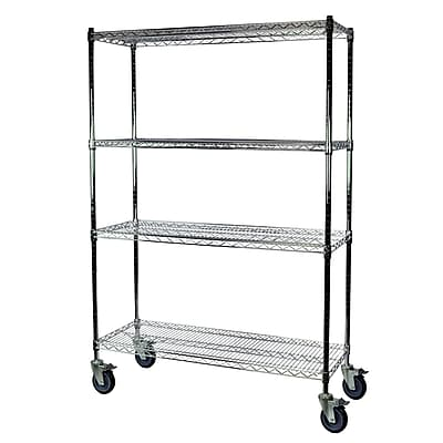 Storage Concepts Office Shelving with Wheels, Wire Chrome, 4 Shelves, 69
