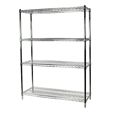 Storage Concepts Chrome Wire Stationary Shelving, 4 Shelves, 74