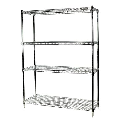 Storage Concepts Office Shelving, Wire Chrome, 4 Shelves, 74