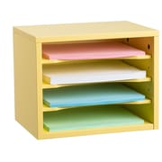 "Adiroffice Yellow Wood Desk Organizer Workspace Organizers Removable Shelves 11"" X 14"" X 9.8"" (502-01-YEL)"
