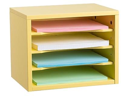 Adiroffice Yellow Wood Desk Organizer Workspace Organizers Removable Shelves 11