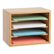 "Adiroffice Medium Oak Wood Desk Organizer Workspace Organizers Removable Shelves 11"" X 14"" X 9.8"" (502-01-MEO)"