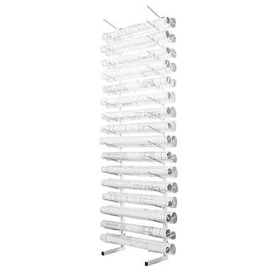 Adiroffice White Blueprint Rack - Durable & Sturdy Blueprint Organizer - Large Capacity Roll Files Storage 84