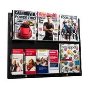 Adiroffice Acrylic Black Wall Mounted Hanging Magazine Rack Newspaper & Brochure Holder 29'' X 23'' (640-2923-BLK)