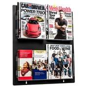 Adiroffice Acrylic Black Wall Mounted Hanging Magazine Rack Newspaper & Brochure Holder 20'' X 23'' (640-2023-BLK)