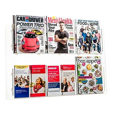 Adiroffice Acrylic Clear Wall Mounted Hanging Magazine Rack Newspaper & Brochure Holder 30'' X 20'' (640-3020-CLR)