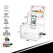 AdirOffice Locking Acrylic Donation & Ballot Box, Black (637-BLK)