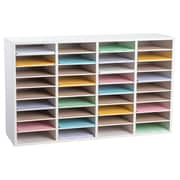 Adiroffice Wood White Adjustable 36 Compartment Literature Organizer (500-36-WHI)